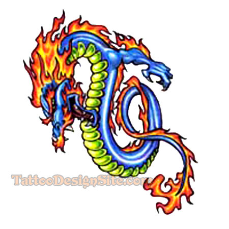 This colored dragon tattoo is created with vibrant colors like blue,