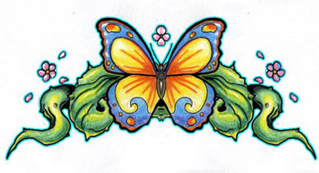 lower back butterfly tattoo art sketch