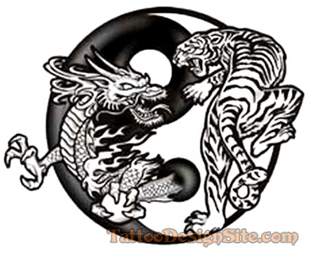 Here is the famous dragon tiger tattoo design I told you yesterday.