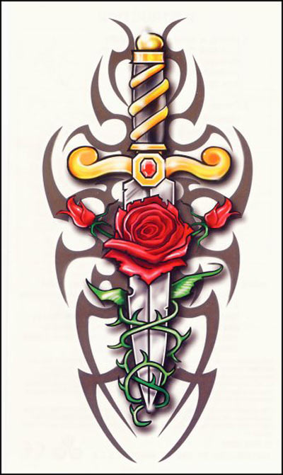 The rose and knife tattoo are often popular among girls who like flower